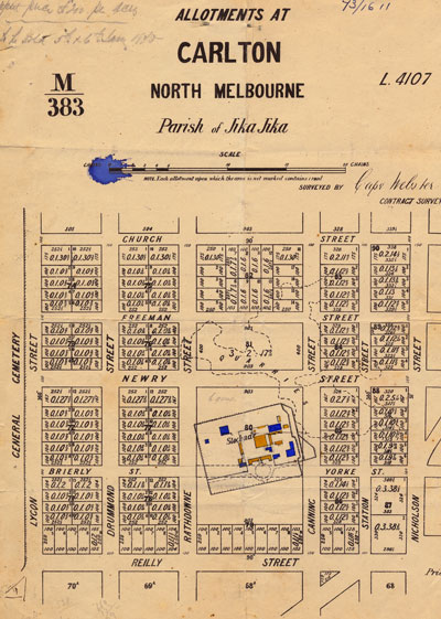 A plan of house allotments in Carlton printed in 1869